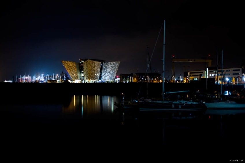 Titanic Building Belfast at night